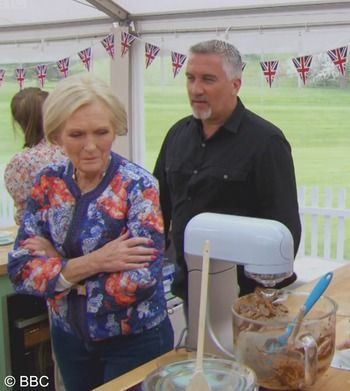 Mary Berry Admiring Bake Off Mixer